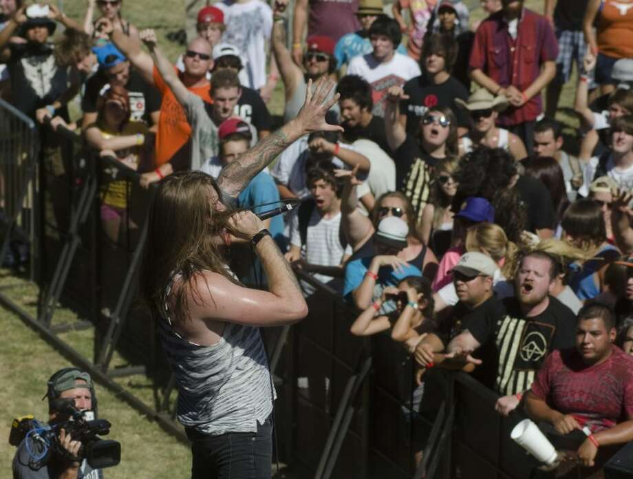 Micah Kinard, with Oh Sleeper, performs Thursday afternoon at Rock the Desert. Photo by Tim Fischer\ Reporter-Telegram Photo: Tim Fischer