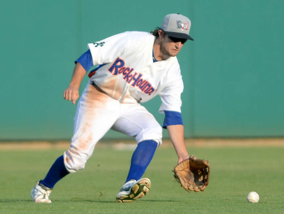 RockHounds center fielder Conner Crumbliss collects a line drive hit by the Arkansas Travelers Saturday at Citibank Ballpark. James Durbin/Reporter-Telegram Photo: JAMES DURBIN