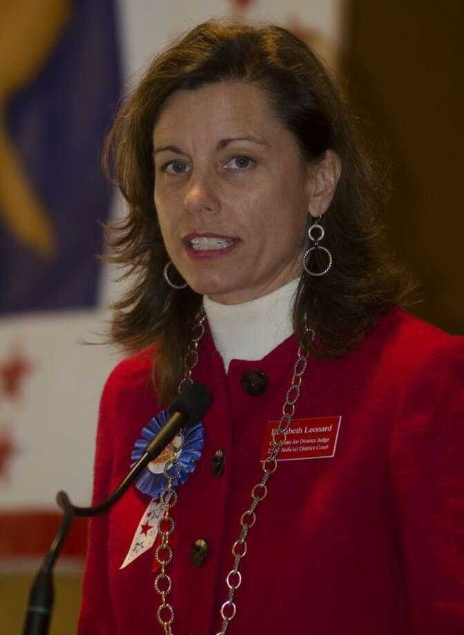 Elizabeth Leonard, candidate for 238th Districk Court, speaks Wednesday at the Midland County Republican Women's luncheon. Photo by Tim Fischer\ Reporter-Telegram Photo: Tim Fischer