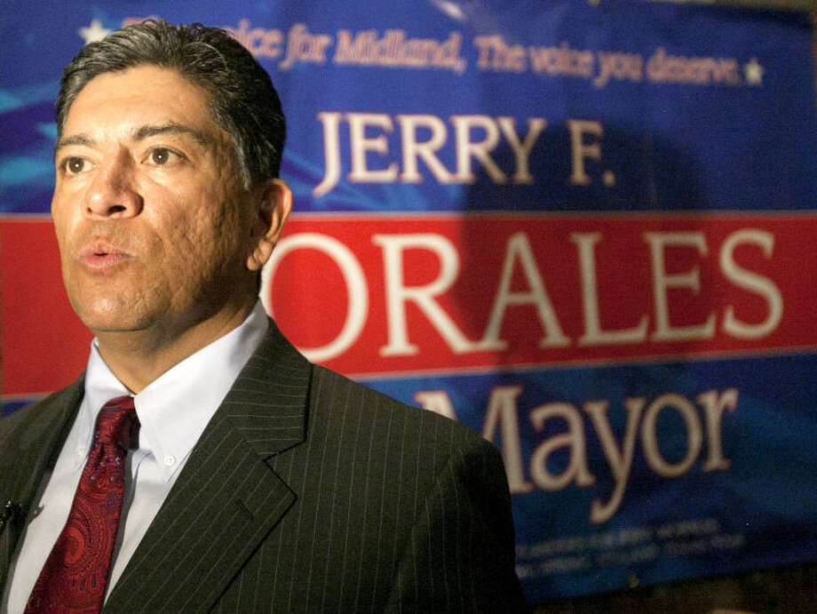 Councilman Jerry Morales speaks to the media after a press conference announcing his intention to run for mayor on Thursday at Gerardo's restaurant in Midland. James Durbin/Reporter-Telegram Photo: JAMES DURBIN