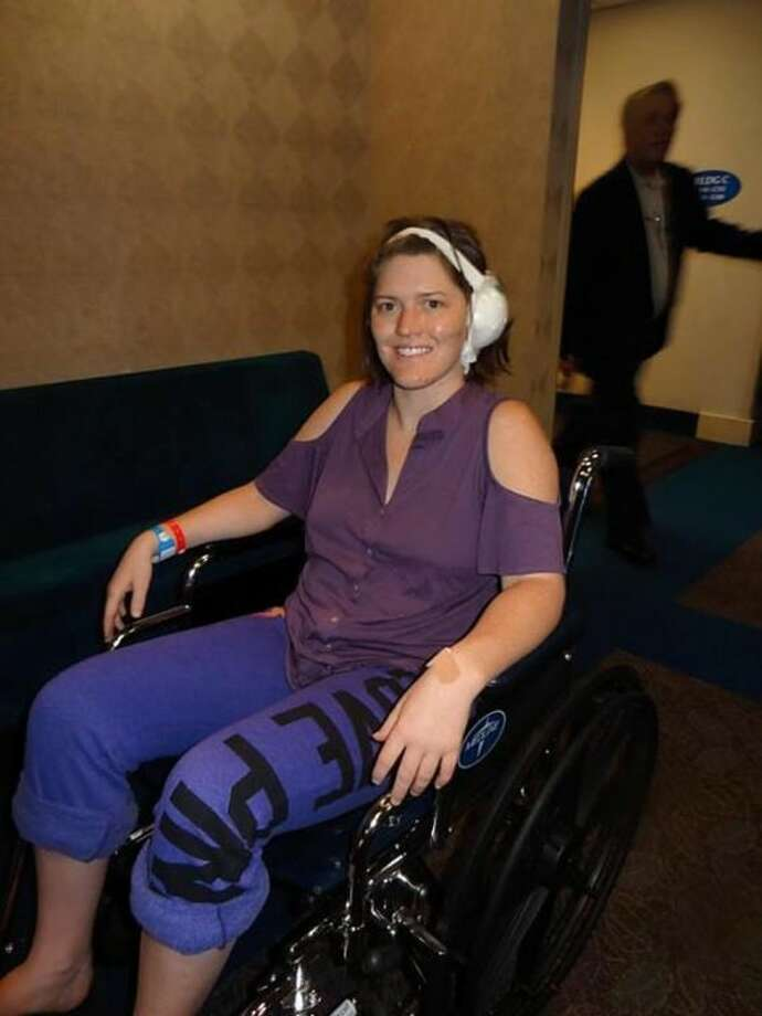 Mallory Rowland wears bandages after surgery at Dallas Ear Institute. Photo: Courtesy Photo