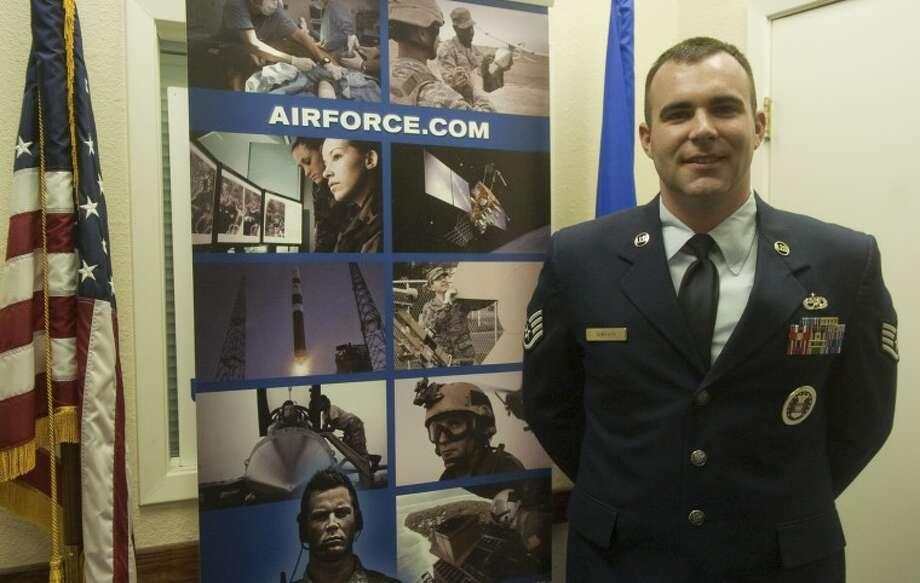 Jason Shriver, Staff Sergeant, USAF, is the local Air Force recruiter. Photo by Tim Fischer/Midland Reporter-Telegram Photo: Tim Fischer
