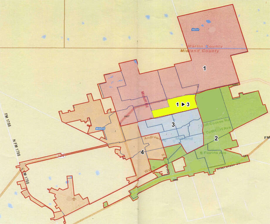 (Click Photo to Zoom) The only council district change recommended for 2011 is a section (seen in yellow) previously in District 1 which would move to District 3.