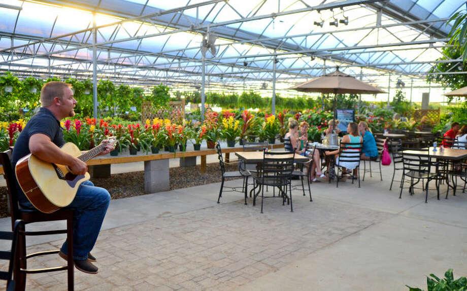 Rick Carr performs at Alldredge Gardens' Cafe at the Gardens Thursday. James Durbin/Reporter-Telegram Photo: JAMES DURBIN