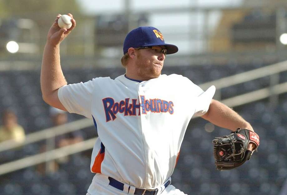 A.J. Griffin (56) throws a pitch during the first inning of a RockHounds game against the Arkansas Travelers at Citibank Ballpark this season. MRT file photo Photo: Cindeka Nealy