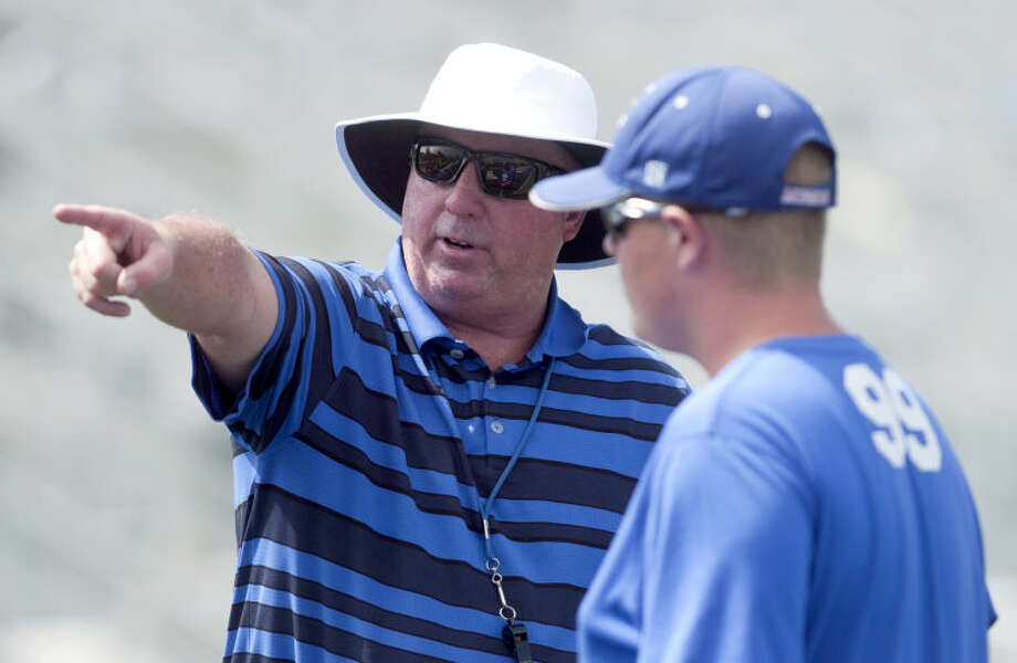 Midland Christian football head coach Greg McClendon during practice Friday at Midland Christian. James Durbin/Reporter-Telegram Photo: JAMES DURBIN