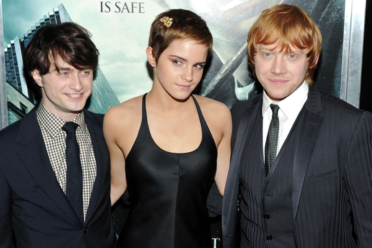 FILE - In this Nov. 15, 2010 file photo, actors, from left, Daniel Radcliffe, Emma Watson and Rupert Grint attend the premiere of