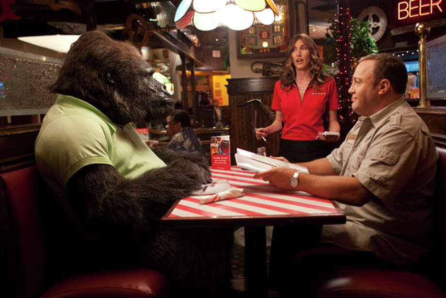 "In this film publicity image released by Columbia Pictures, Kevin James, right, and Jackie Sandler are shown in a scene from ""Zookeeper."" (AP Photo/Columbia Pictures-Sony) Photo: HOEP / © 2011 Columbia TriStar Marketing Group, Inc. All Rights Reserved."
