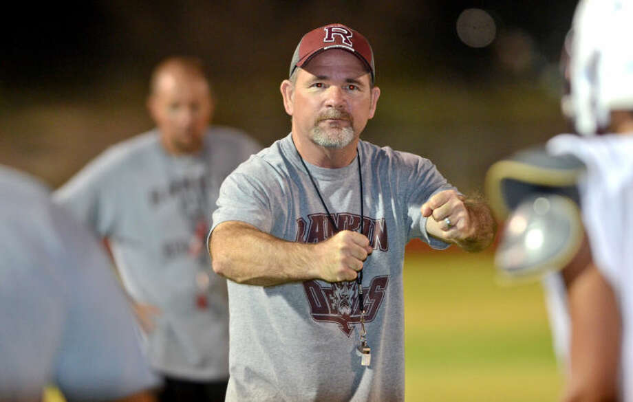 "Ranken football head coach Kevin Ray during ""Midnight Madness"" practice Friday. James Durbin/Reporter-Telegram FOR SPORTS BLOG 8-9-13 Photo: JAMES DURBIN"