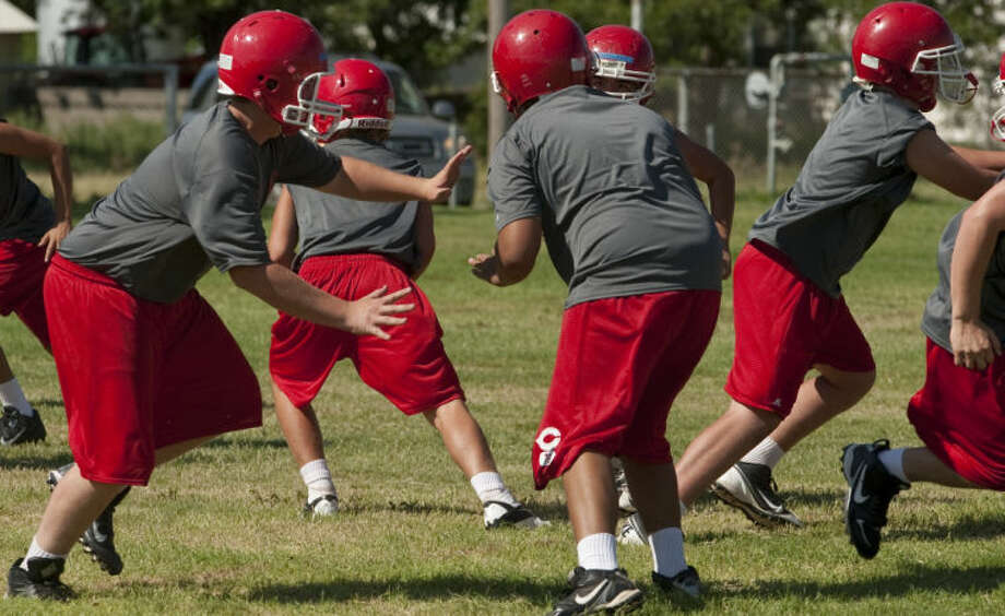 Coahoma players run drills Wednesday at pracice. Tim Fischer\Reporter-Telegram Photo: Tim Fischer