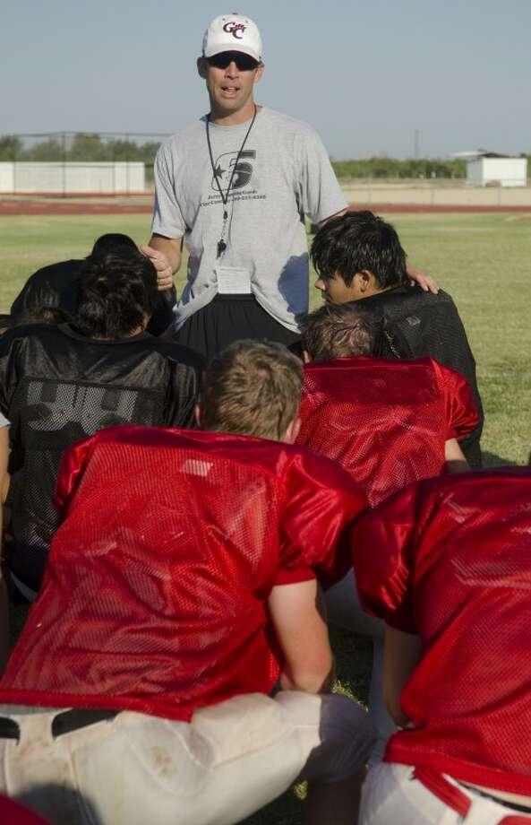 Garden City coach Matt Odom talks with his players during a break Tuesday morning. Photo by Tim Fischer\ Reporter-Telegram Photo: Tim Fischer