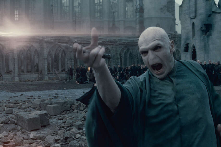 "In this film publicity image released by Warner Bros. Pictures, Ralph Fiennes portrays Lord Voldemort in a scene from ""Harry Potter and the Deathly Hallows: Part 2."" (AP Photo/Warner Bros. Pictures) Photo: HONS / (C) 2011 WARNER BROS. ENTERTAINMENT INC. HARRY POTTER PUBLISHING RIGHTS (C) J.K.R. HARRY POTTER CHARACTERS, NAMES AND RELATED INDICIA ARE TRADEMARKS OF AND (C) WARNER BROS. ENT.  ALL RIGHTS RESERVED"