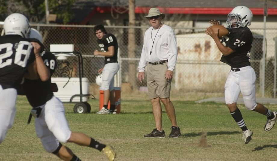 Permian coach Gary Gains watches his players run drills Monday at practice. Photo by Tim Fischer\ Reporter-Telegram Photo: Tim Fischer