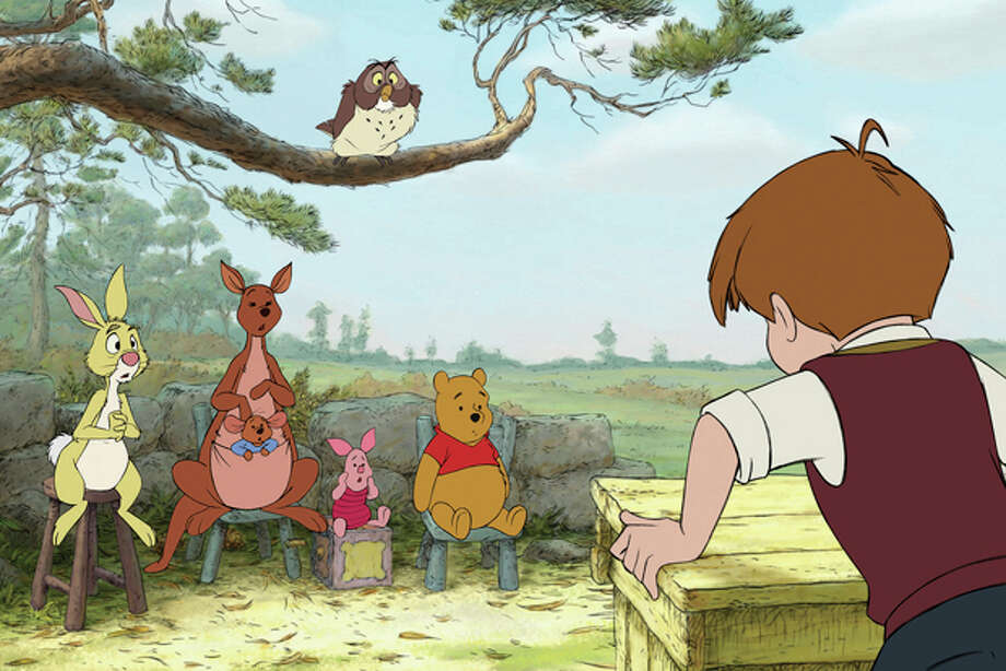 "In this film publicity image released by Disney, animated characters from left, Rabbit, Kanga, Roo, Piglet, Owl, Winnie the Pooh, Christopher Robin are shown in a scene from ""Winnie the Pooh."" Photo: (AP Photo/Disney Enterprises, Inc.) / ©Disney Enterprises, Inc. All rights reserved."