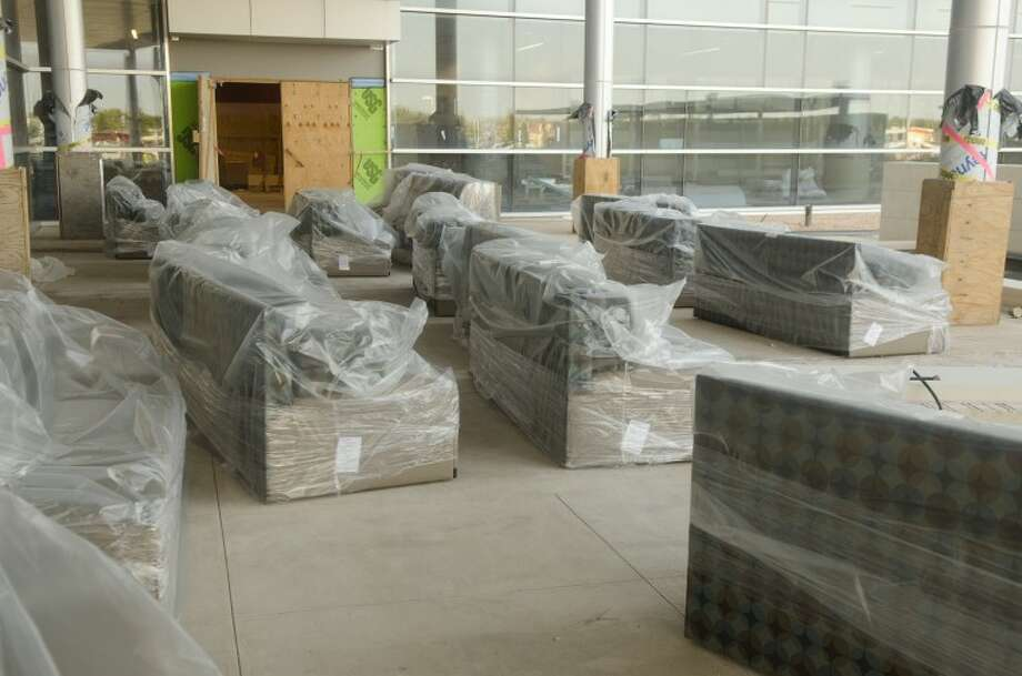New couches sit outside the new patient tower at MMH after being unloaded Tuesday morning. Tim Fischer/Reporter-Telegram Photo: Tim Fischer