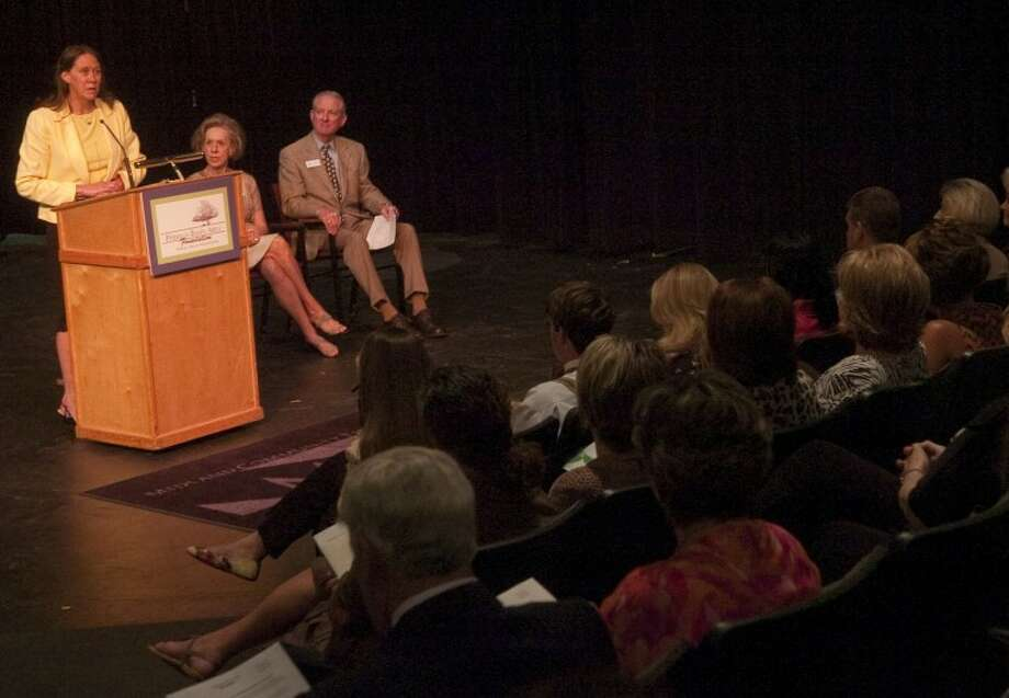 Rebecca Nicholson, chair of the board of directors for Communities in Schools of the Permain Basin, talks about how the grant they received will help in the upcoming school year during the Permian Basin Area Foundation grant award ceremony Wednesday at Midland Community Theater. Photo by Tim Fischer/Midland Reporter-Telegram Photo: Tim Fischer