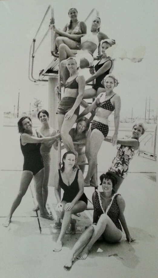 Em Carnett, former swim instructor and parks and recreation superintendent for the city, poses at top with her ladies swim class in the late 1960s. Photo: Courtesy Photo