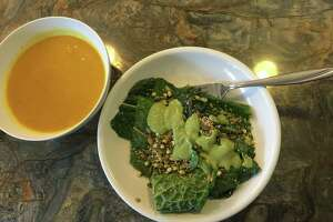 Dinner Day 1 was better than lunch with a really delicious carrot soup of onion, ginger and garam masala curry and then a warmed salad of kale, Swiss chard and sprouted mung beans, served with a cashew cream green goddess dressing. The dressing was fantastic, but I wanted another serving and maybe 10 more leaves of salad instead of the five that came with the meal. And no, I don't have giant forks.