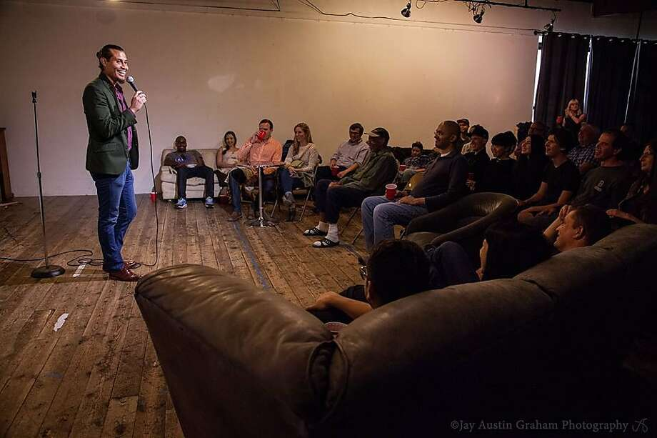Anthony Medina performs during a comedy show at the Sports Basement in San Francisco. Photo: Jay Austin Graham Photography