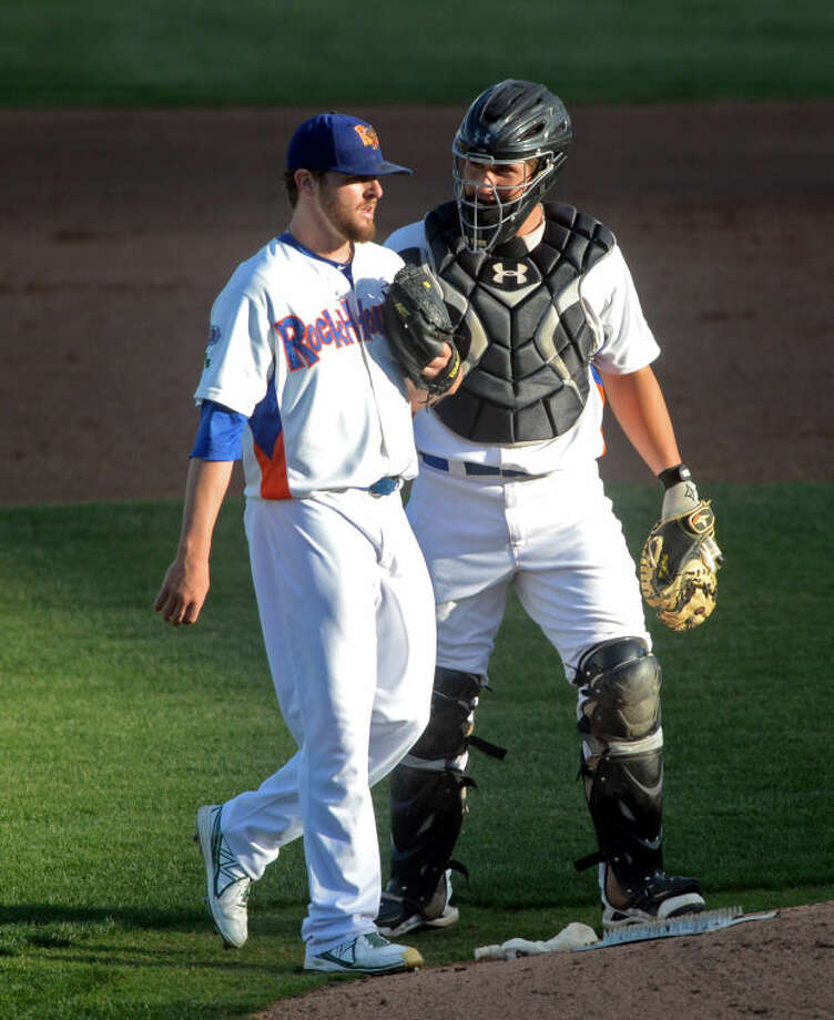 Rockhounds pitcher Zach Neal and catcher David Freitas talk on the mound during the game against the Tulsa Drillers in May at Citibank Ballpark. James Durbin/Reporter-Telegram Photo: JAMES DURBIN