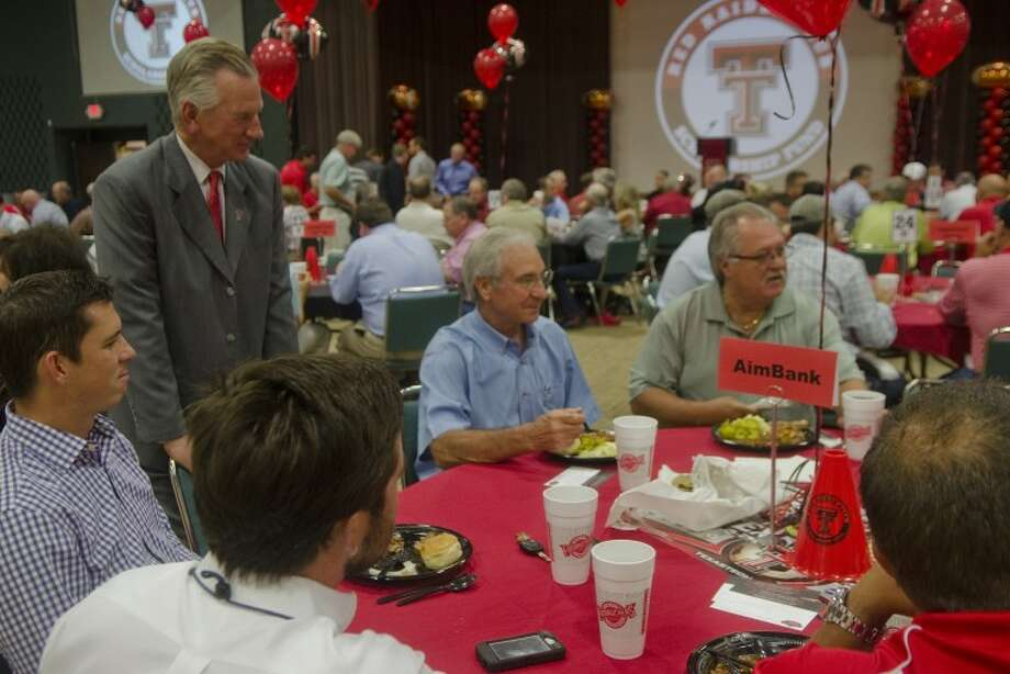 Texas Tech head football coach Tommy Tuberville greets and talks with area alumni Monday at a scholarship luncheon at the Midland Center. Tim Fischer/Reporter-Telegram Photo: Tim Fischer