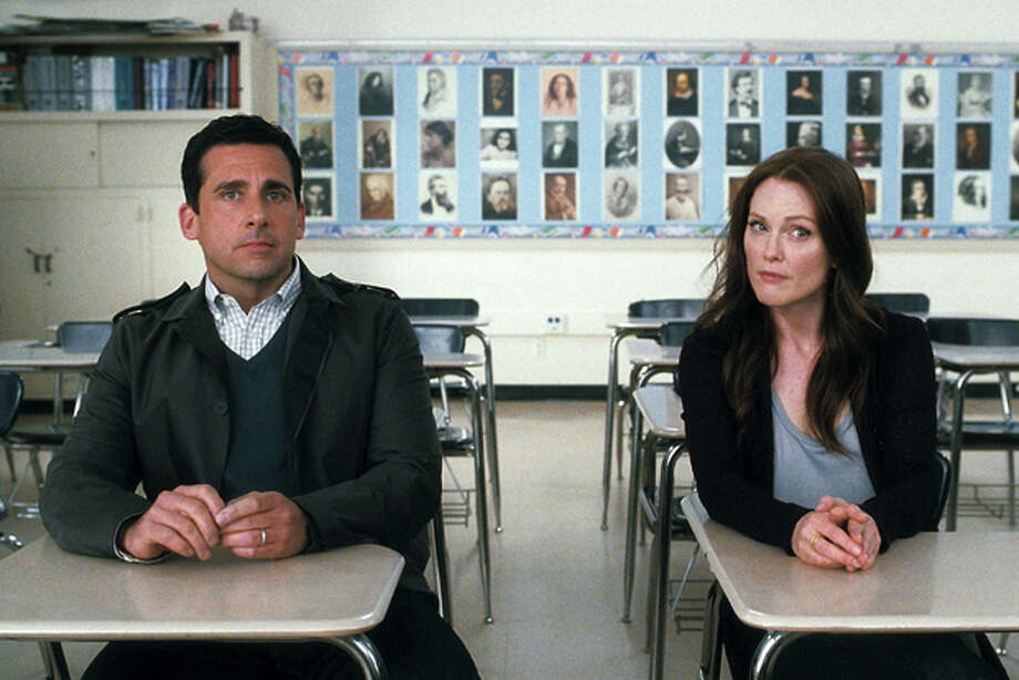 """In this film publicity image released by Warner Bros. Pictures, Steve Carell, left, and Julianne Moore are shown in a scene from """"Crazy, Stupid, Love."""" (AP Photo/Warner Bros. Pictures) Photo: HONS / ©2011 Warner Bros. Entertainment Inc."""