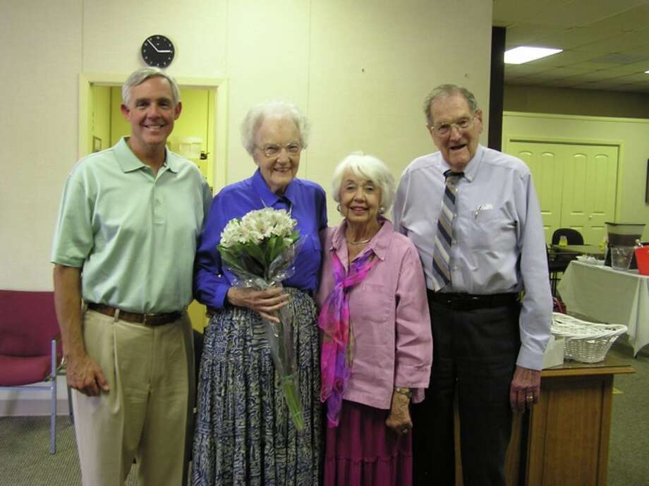 Permian Bridge Club member Roberta Bacon, second from left, was honored at a surprise 90th birthday party Aug. 12 at the Allison Bridge Center. The surprise included a visit and flowers from Mayor Wes Perry, left. Perry's mother, Ricki Perry, second from right, and Bacon's husband, Robert, far right, also are members.