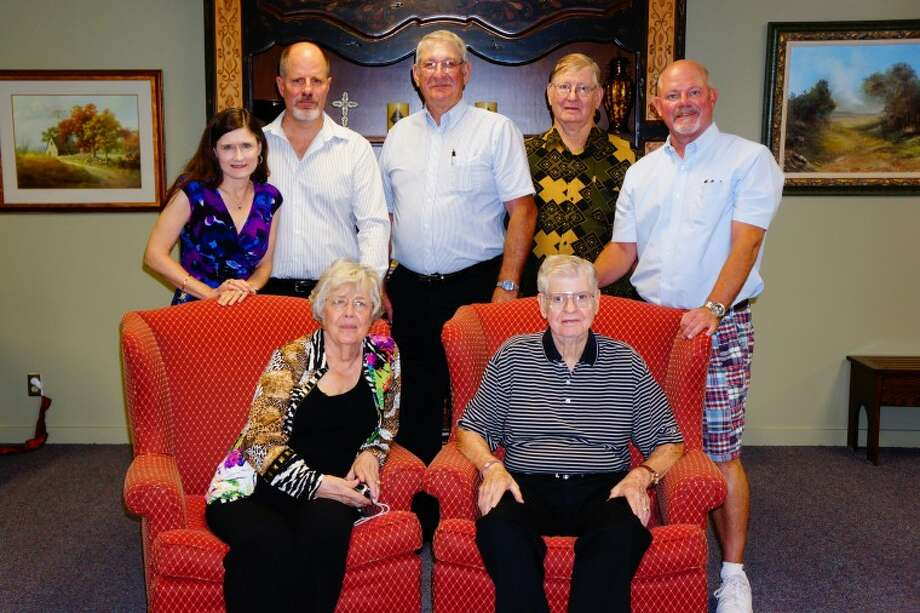 Nicholas birthday party: Carolyn and Raymond Nicholas. front row;    Joyce and Kurt Nicholas, from left in back row, Marion Nicholas, Allen Nicholas and Mark Nicholas.