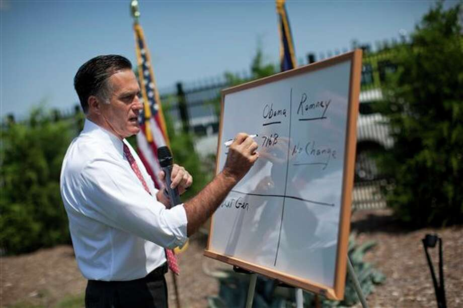 FILE - In this Aug. 16, 2012 file photo, Republican presidential candidate, former Massachusetts Gov. Mitt Romney writes on a white board as he talks about Medicare during a news conference in Greer, S.C . The U.S. health care system squanders $750 billion a year — roughly 30 cents of every medical dollar — through unneeded care, Byzantine paperwork, fraud and other waste, the influential Institute of Medicine said Thursday in a report that ties directly into the presidential campaign. President Barack Obama and Republican Mitt Romney are accusing each other of trying to slash Medicare and put seniors at risk. But the counter-intuitive finding from the report is that deep cuts are possible without rationing, and a leaner system may even produce better quality. (AP Photo/Evan Vucci, File) Photo: Evan Vucci / AP