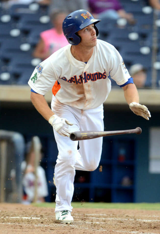 RockHounds' Dusty Coleman puts the ball in play against Frisco last month at Citibank Ballpark. James Durbin/Reporter-Telegram Photo: JAMES DURBIN