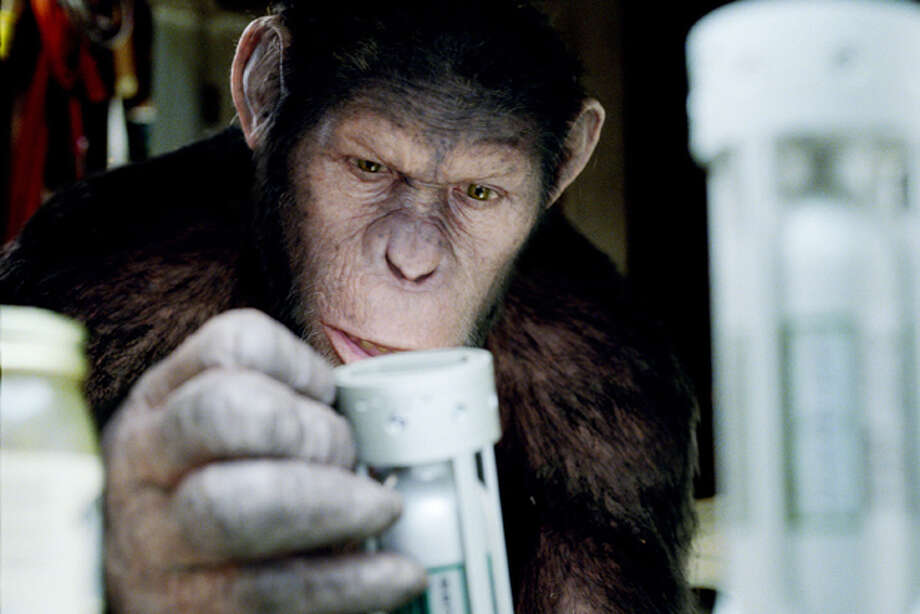 "In this image released by Twentieth Century Fox, Caesar the chimp, a CG animal portrayed by Andy Serkis is shown in a scene from ""Rise of the Planet of the Apes ."" Photo: AP Photo/Twentieth Century Fox / TM and © 2011 Twentieth Century Fox Film Corporation.  All rights reserved.  Not for sale or duplication."