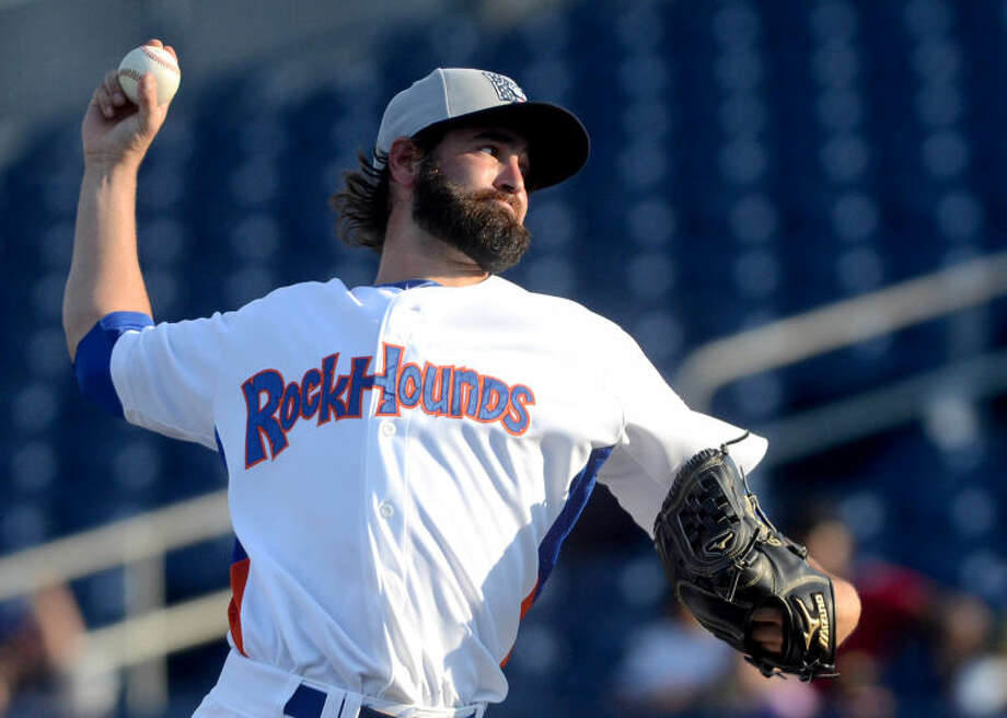 RockHounds pitcher Drew Grainer throws against Northwest Arkansas Friday at Citibank Ballpark. James Durbin/Reporter-Telegram Photo: JAMES DURBIN