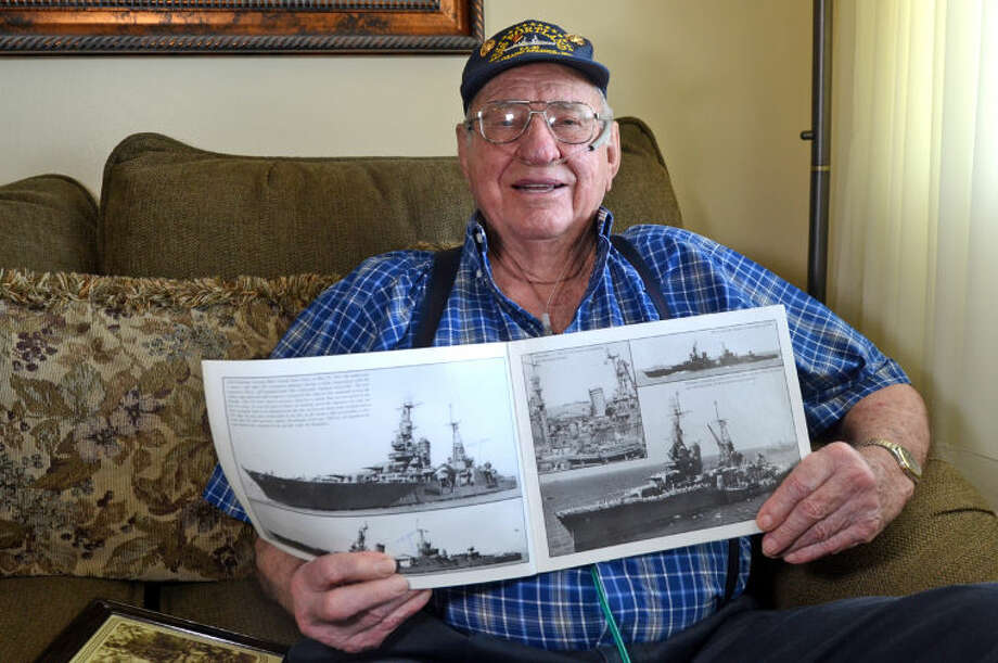 Felix Haler, US Marine Corps Sgt. (ret.), was assigned to the U.S.S. Portland, a Navy heavy cruiser that escorted the U.S.S. Enterprise aircraft carrier during operations in the Pacific during World War II. James Durbin/Reporter-Telegram Photo: JAMES DURBIN