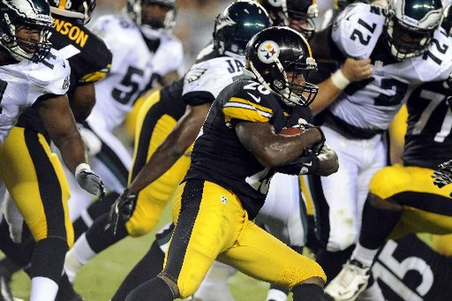 Michael Perez/APPittsburgh running back Baron Batch rushes past Philadelphia Eagles defenders during an Aug. 9 preseason game in Philadelphia. Batch is a Midland High and Texas Tech grad.
