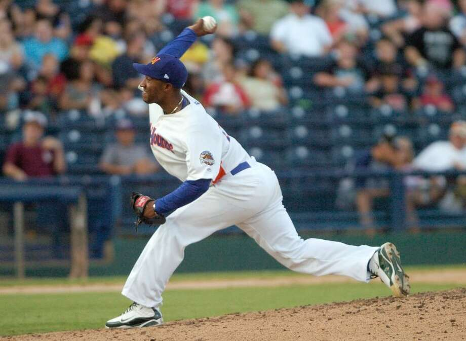 RockHounds pitcher Yadel Marti (26) winds up and throws a pitch Friday during the Hounds game against the San Antonio Missions at Citibank Ballpark. Cindeka Nealy/Reporter-Telegram Photo: Cindeka Nealy