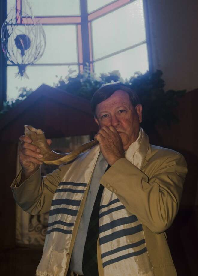 Frank Kazman blows the shofar at Temple Beth El in Odessa, and has performed the calling for the past 20 years. Tim Fischer/Reporter-Telegram Photo: Tim Fischer