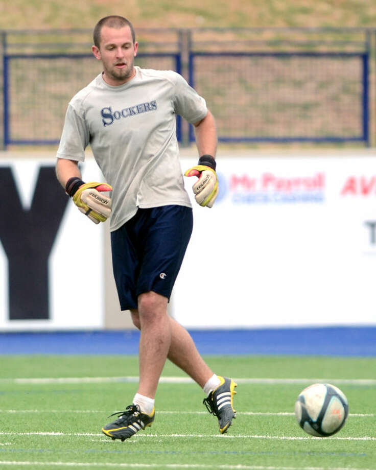 Sockers FC goalkeeper Nick Petolick during practice. James Durbin/Reporter-Telegram Photo: JAMES DURBIN