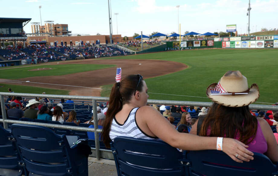RockHounds fans wear American flags before the start of the game against Northwest Arkansas Thursday at Citibank Ballpark. James Durbin/Reporter-Telegram Photo: JAMES DURBIN