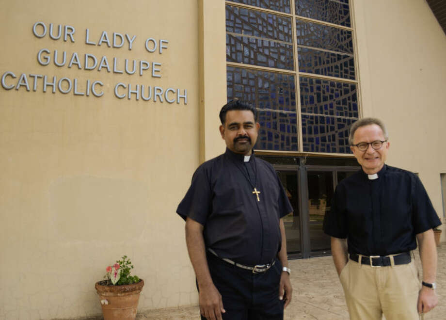 Father Lawrence Mariasoosai, OMI and Father Marek Stroba, OMI will be leaving Our Lady of Guadalupe parish the end of this month. Tim Fischer\Reporter-Telegram Photo: Tim Fischer