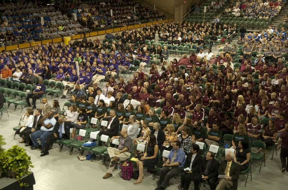 MISD employees attend the 2011-2012 Convocation Friday morning at  Midland College's Chaparral Center. Superintendent Ryder Warren welcomed them and attempted to inspire them for the upcoming school year. Photo: Tim Fischer/Reporter-Telegram