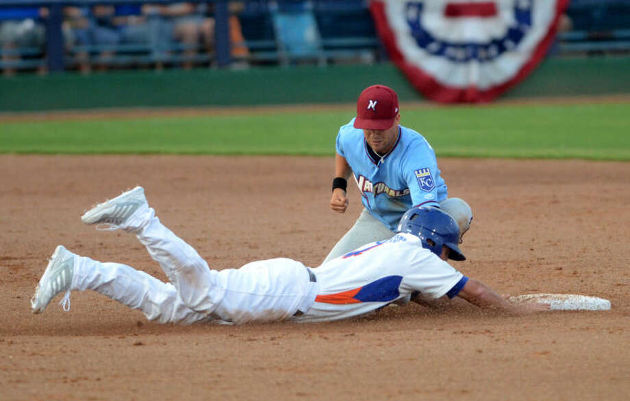 RockHounds' Jake Goebbert slides into second as Northwest Arkansas' Whit Merrifield tries to tag him out Wednesday at Citibank Ballpark. James Durbin/Reporter-Telegram Photo: JAMES DURBIN
