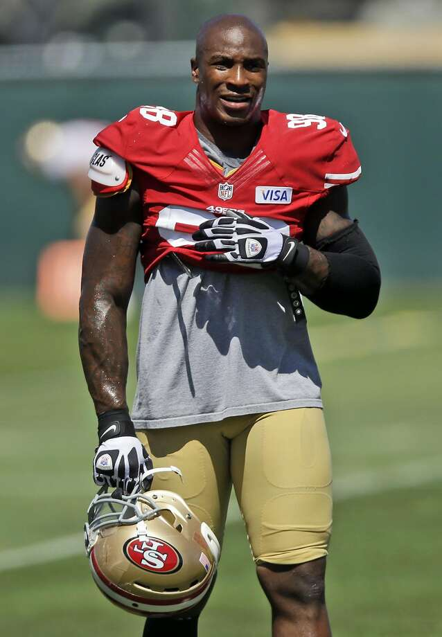 Parys Haralson during training camp with the 49ers in 2013. Photo: Marcio Jose Sanchez, Associated Press