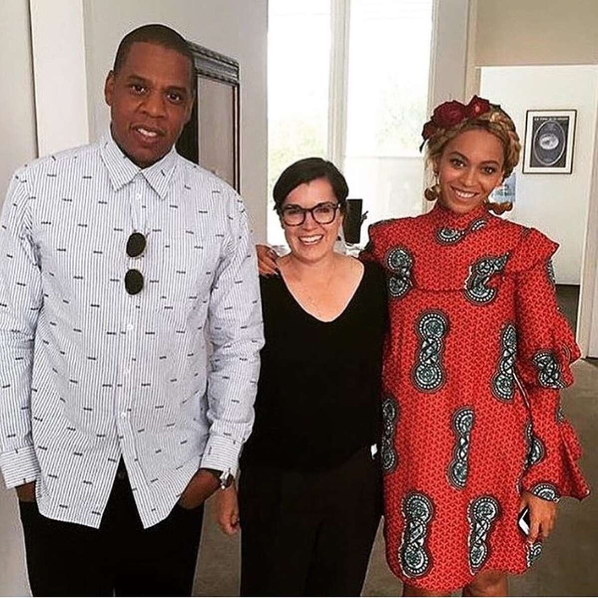 """Jay-Z and Beyonce visited the Menil Collection on Sunday, May 8, the day after her """"Formation"""" tour concert at NRG Stadium. She's wearing a Stella Jean Comandante ruffle sleeve dress."""