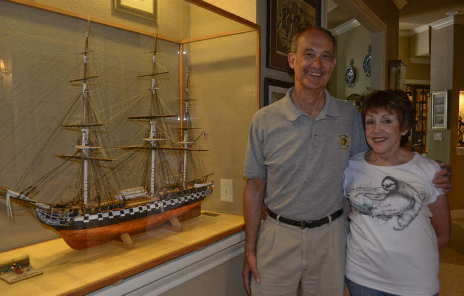 Andy and Betty Shaffer, next to the USS Constitution he built by hand. Tim Fischer\Reporter-Telegram Photo: Tim Fischer