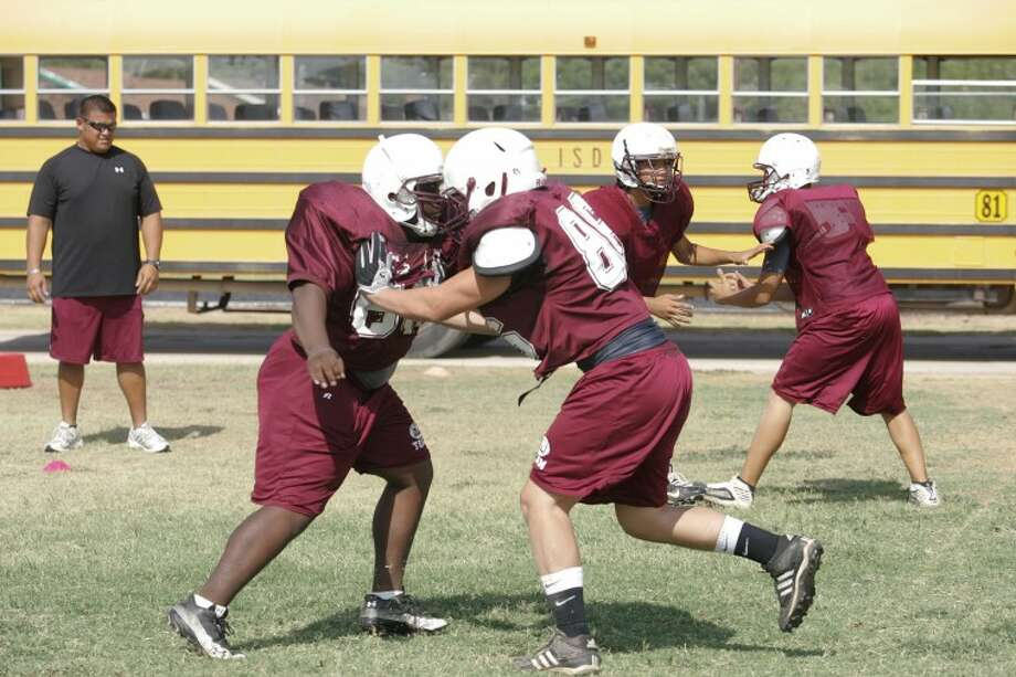The Lee High School defensive line runs through drills Friday during practice at Lee High School. Cindeka Nealy/Reporter-Telegram Photo: Cindeka Nealy
