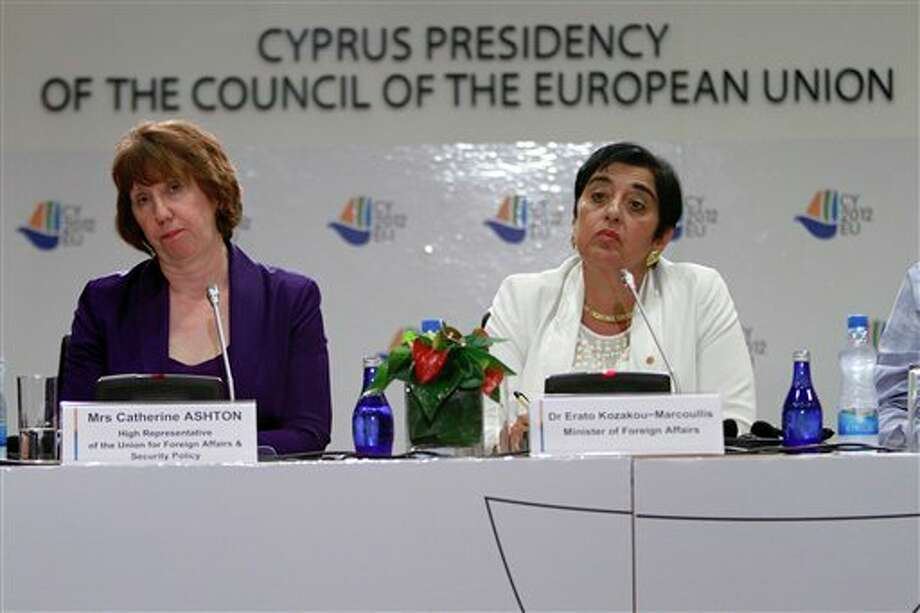 Cyprus' foreign minister Erato Kozakou-Marcoullis, right, and EU foreign policy chief Catherine Ashton speak to the media during a press conference in capital Nicosia, Cyprus, Saturday, Sept. 8, 2012. Ashton said that a top priority for the EU is to offer its full backing to the new U.N.-Arab League envoy to Syria, Lakhdar Brahimi who is set to begin mediation efforts to end the violence between Syrian President Bashar Assad's regime and opposition groups seeking to topple his rule. (AP Photo/Petros Karadjias) Photo: Petros Karadjias / AP