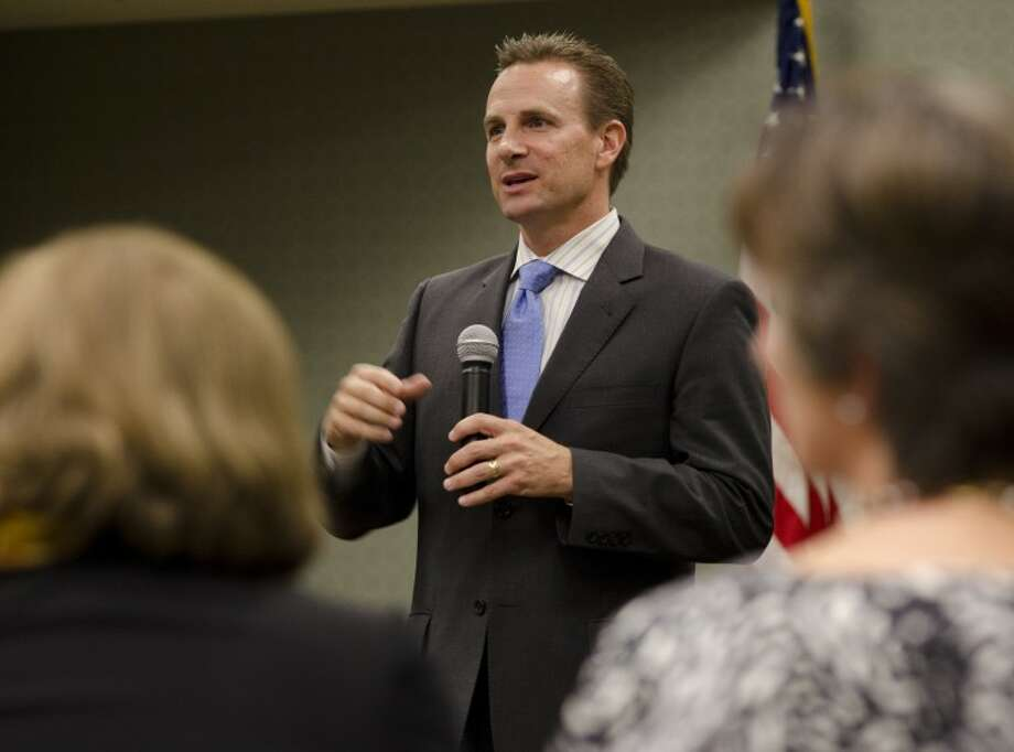 Patrick Payton, co-chair of Better Schools for a Better Midland, speaks Tuesday at the League of Women Voters informational meeting on the need to support the bond referendum for MISD. Tim Fischer\Reporter-Telegram Photo: Tim Fischer