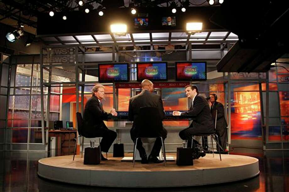 Paul Sadler, left, Democratic candidate for the U.S. Senate, and Republican opponent Ted Cruz, right, take part in The Belo Debate Tuesday, Oct. 2, 2012 at WFFA's Victory Park Studios in Dallas, Texas. (AP Photo/The Dallas Morning News, G.J. McCarthy) Photo: G.J. McCarthy / The Dallas Morning News