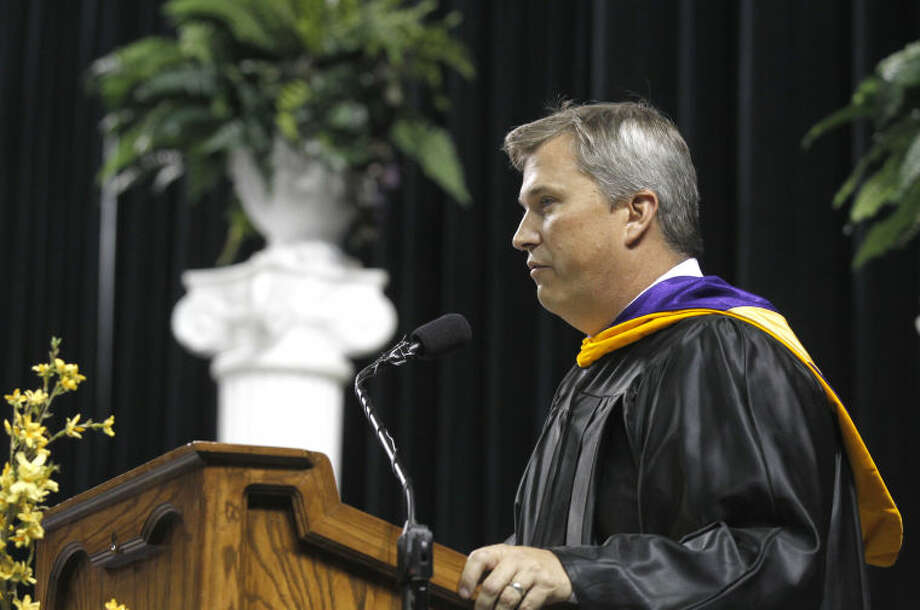 School principal Jeff Horner speaks during the Midland High graduation ceremony Saturday at Chaparral Center. James Durbin/Reporter-Telegram Photo: JAMES DURBIN