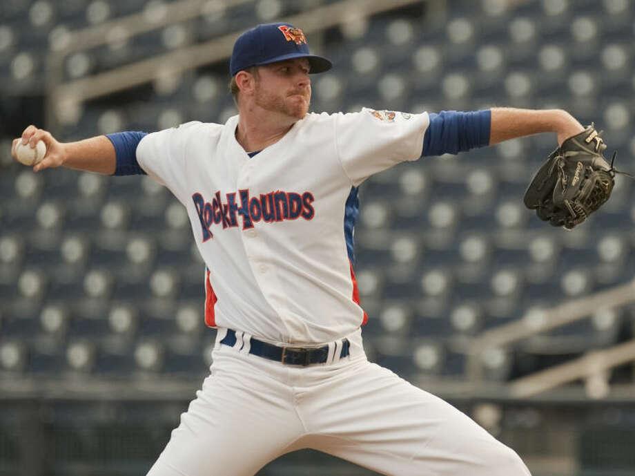 RockHounds' starting pitcher, Sean Murphy, delivers a pitch against Corpus Christi Hooks Monday at CitiBank Ballpark. Tim Fischer\Reporter-Telegram Photo: Tim Fischer